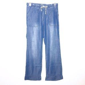 Anthro Cloth & Stone Chambray Wide Leg Pants Sz Sm